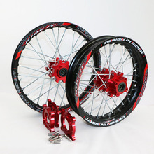 15mm Front 1.40-14″ Rear 1.85-12″  Alloy Black Wheel Rim with CNC  Red Hub  For PIT PRO BSE Pister Pro Dirt Bike Pit bike parts