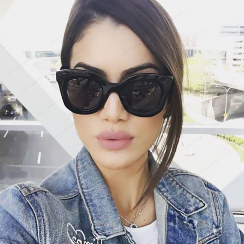 VictoryLip 2017 Hot Cat Eye Celebrity Kim Kardashian Sunglasses Brand Designer Women Sun Glasses Lady transparent Frame Cateye
