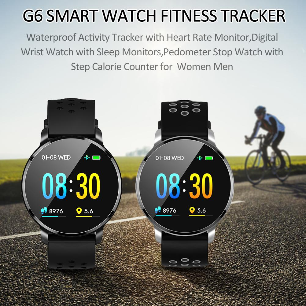 Newest G6 Smart Bluetooth Watch Men Fitness Tracker HD IPS Color Screen Wristband Waterproof IPX67 Android IOS