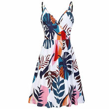 купить Women V-neck Floral Print Fine Shoulder Strap Summer Printed Strappy Sleeveless Dress дешево