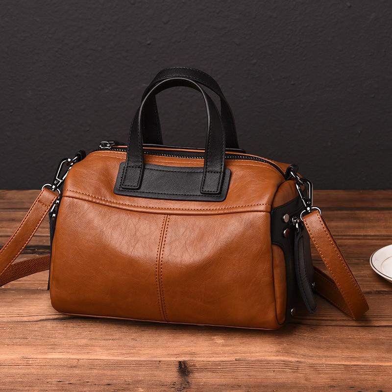 Vintage Women's Leather Handbags Luxury Shoulder CrossBody Bags For Women Messenger Bags Boston Women Tote Bags