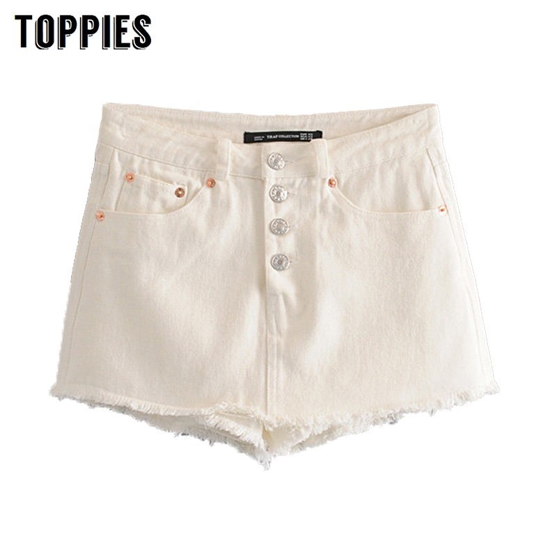 2019 White Button Denim   Shorts   Summer High Waist Hot   Shorts   Ripped Tassel Jeans Bottoms pantalones cortos mujer