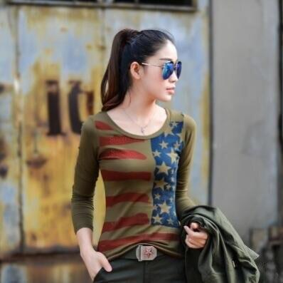 2017 Spring T-shirt Women Green Star Print Casual Long Sleeve Cotton Military Tee Shirt Femme Tops Plus Size M L XL 2XL 3XL