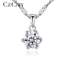 CZCITY Brand Simple Style Classic One Carat Zircon Stone Shiny Women 925 Silver Pendant Necklace Water Wave Chain Necklace Gift