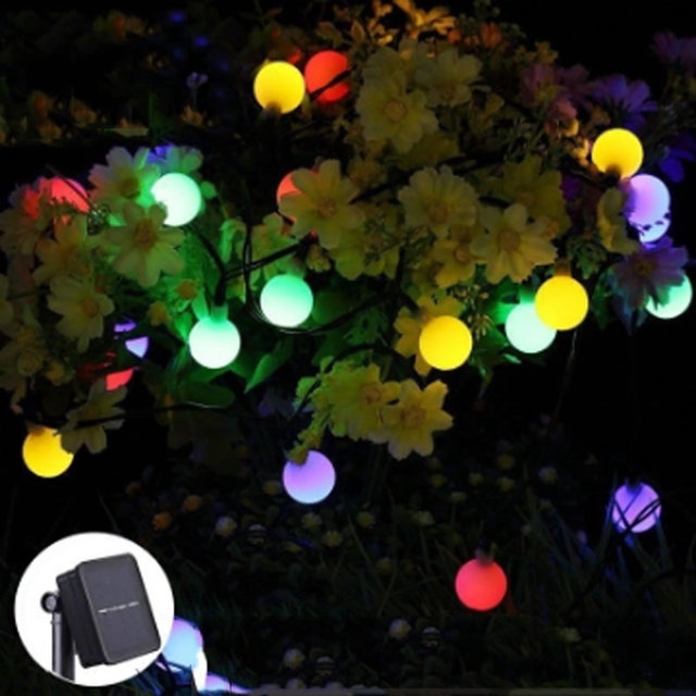 Solar Powered Outdoor String Lights 50 LEDs 23ft/7M Waterproof Globe Ball  Fairy Lights For