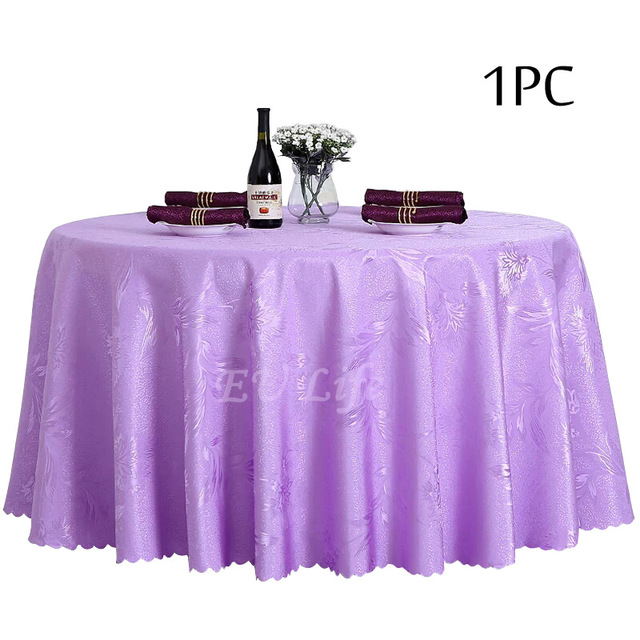 Polyester Dining Table Cloth Decoration Party Wedding Hotel Table Cover Round  Tablecloth Burgundy Ivory Table Linen