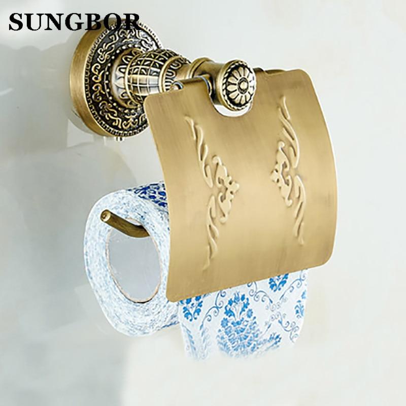 Antique bronze suspension carved paper towel rack Europe white bathroom paper holder toilet paper box toilet Accessores SL-5908F