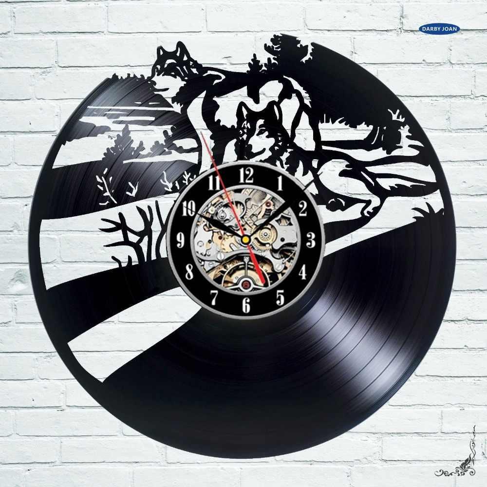 Wolf Beeldje Gift Ontwerp Art Wandklok 12 inch (30 cm)/Wolfman Laser cut van Vintage Vinyl Record, 5 Kleur