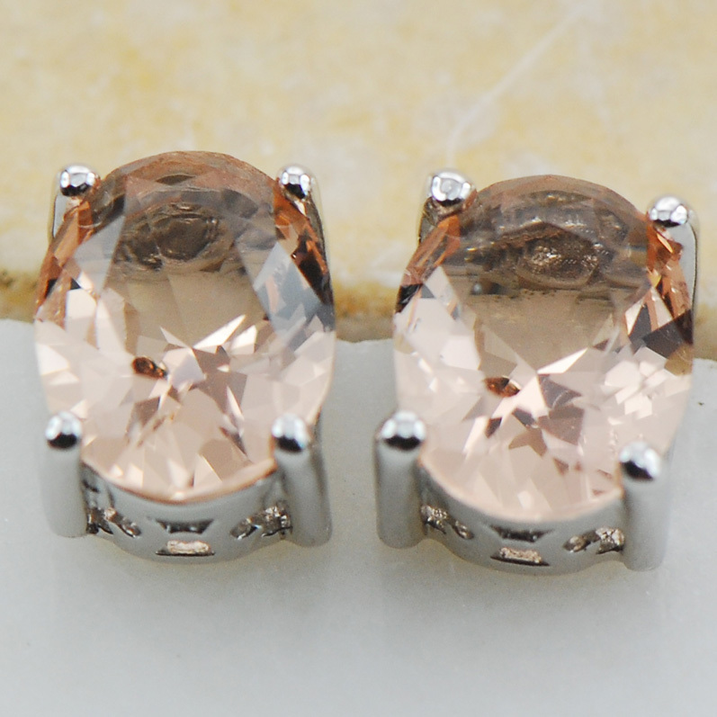 Morganite 925 Sterling Silver Earrings Stud PE15 Item ini Min order adalah $ 10