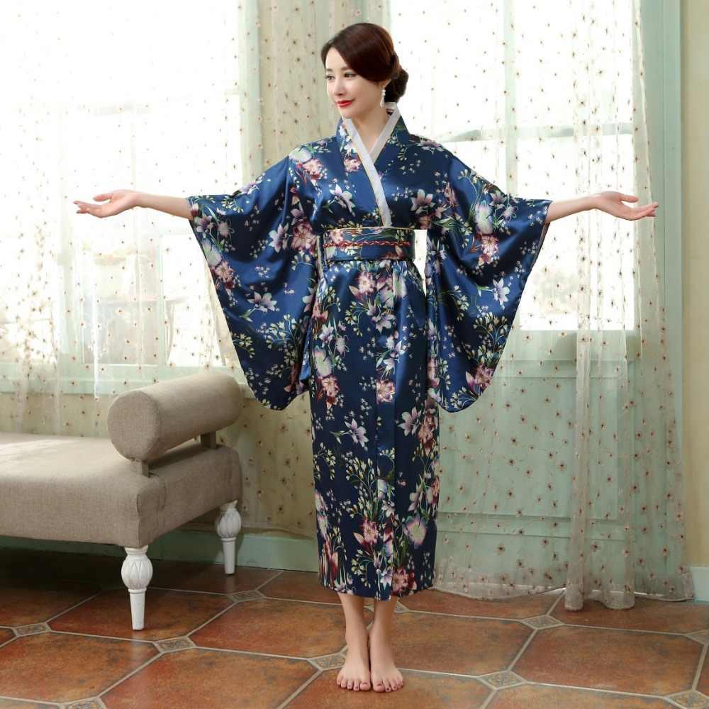 Японское традиционное женское шелковое кимоно из вискозы винтажное юката с Obi танцевальное платье для выступлений костюм на Хэллоуин один размер HL02