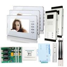 """ENVÍO LIBRE 7 """"LCD HD Piso Video Atado Con Alambre Timbre de La Puerta de Intercomunicación teléfono 2 IR cámara 3 monitores para Familia 2/Casa EN STOCK"""