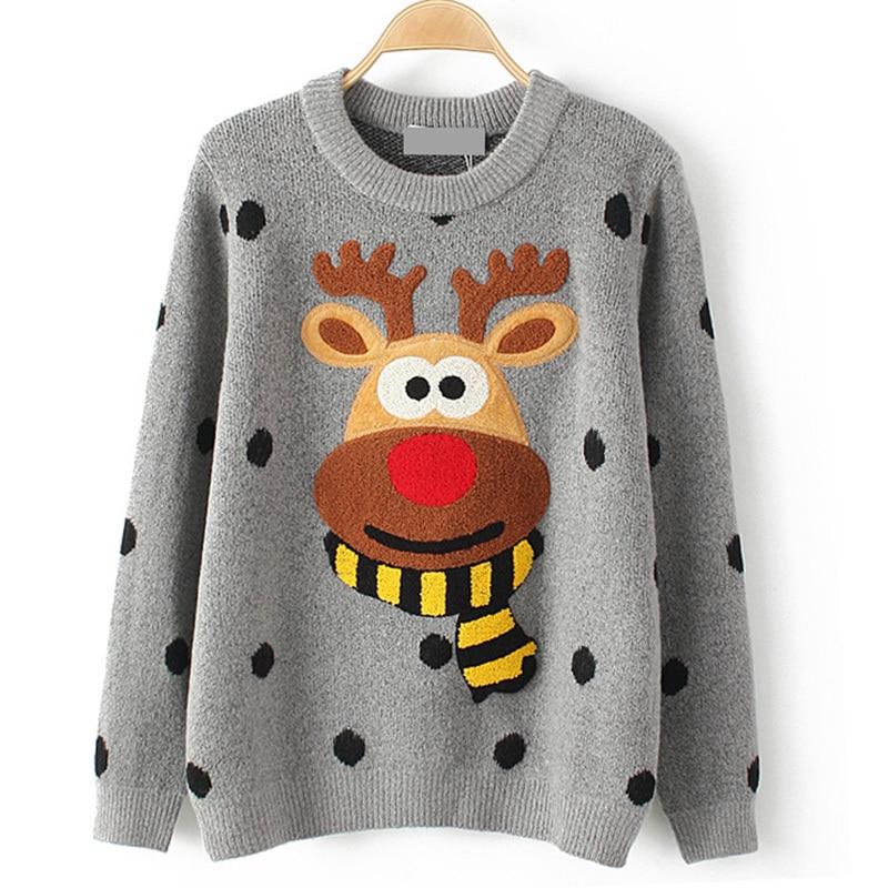 HTB1rSFTfGagSKJjy0Faq6z0dpXar - Ugly Christmas Deer Sweater Women Winter 2017 Cotton O Neck Gray Jumper Knitted Pullover Sweater PTC 288