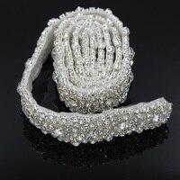 1 Yard Rhinestone Applique Clear Bling Crystal Bridal Sash Hot-Fix Naaien Trim voor Kledingstuk R2871