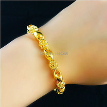 Golden Hollow Beads Bracelet Chain Women Elegant 24k Real Yellow Gold Filled Chain Alluvial Gold Bracelet Bangle Jewelry