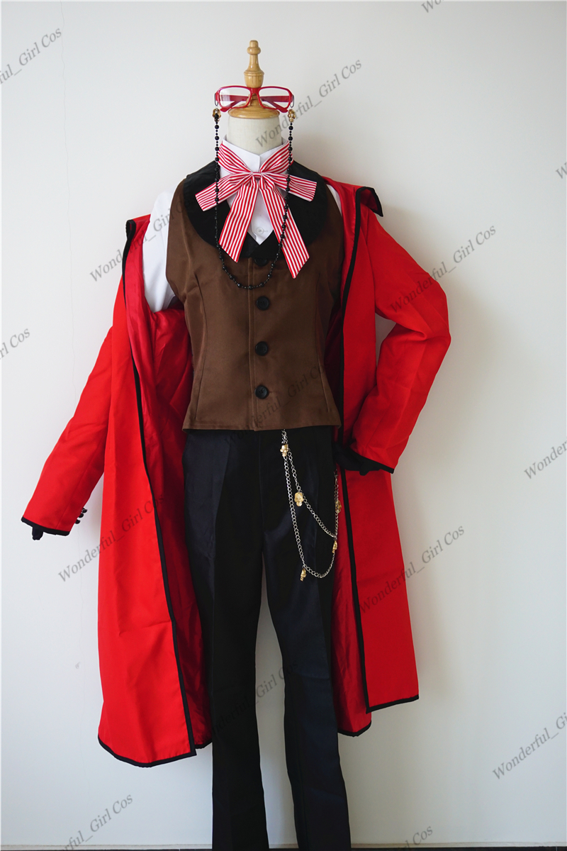 Anime Black Butler Death Shinigami Grell Sutcliff Cosplay Red Uniform Outfit+Glasses Carnaval Halloween Costumes for Women Men