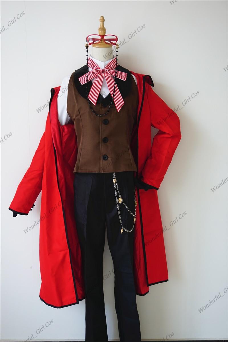 Аниме Black Butler Death Shinigami Grell Sutcliff косплей красный униформа наряд + очки карнавал костюмы на Хэллоуин для женщин и мужчин