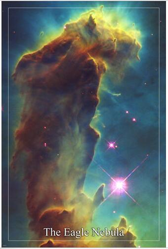 THE EAGLE NEBULA Hubble Space Telescope image SILK POSTER Decorative painting 24x36inch image
