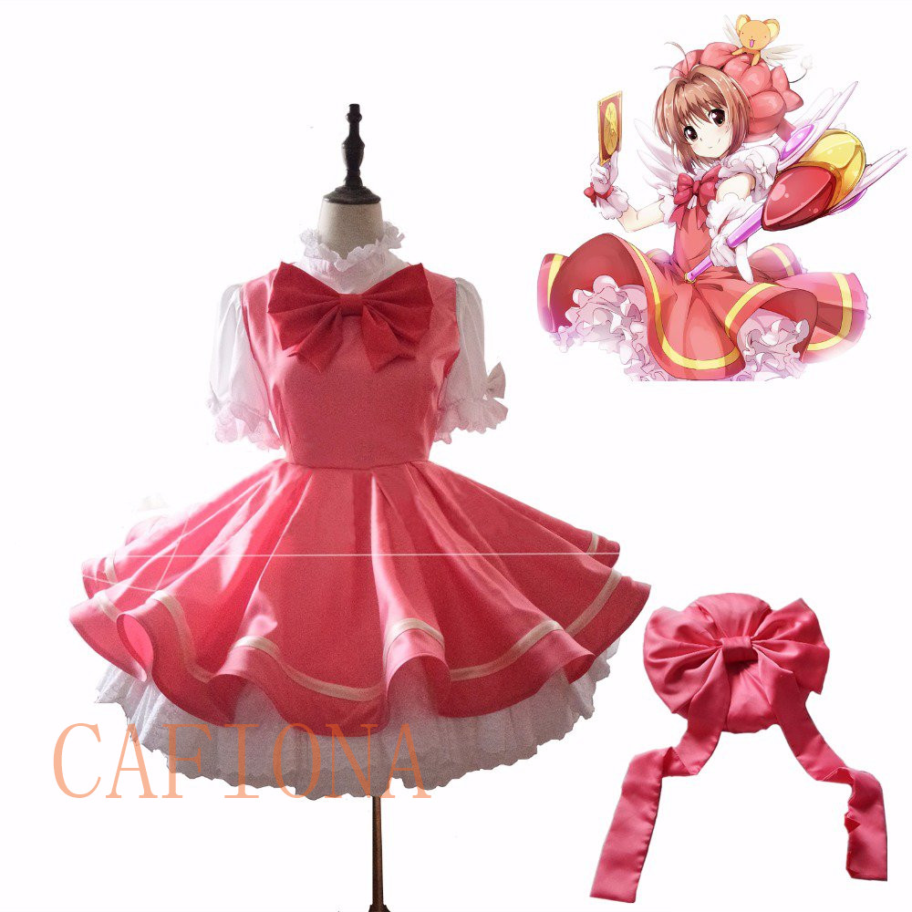 Cafiona New Halloween Card captor cosplay Sakura Cosplay Costume Kinomoto SAKURA cosplay dress