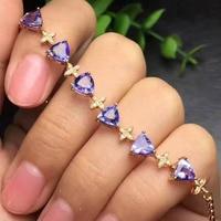 natural blue tanzanite stone Bracelet Natural gemstone bracelet 925 sterling silver fashion Elegant triangle women party jewelry