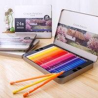 Deli Oil 24/36/48/72 цвета, цветной карандаш, деревянный граффити, железная коробка, ручка для заполнения, современная цветная свинцовая живопись, эс...