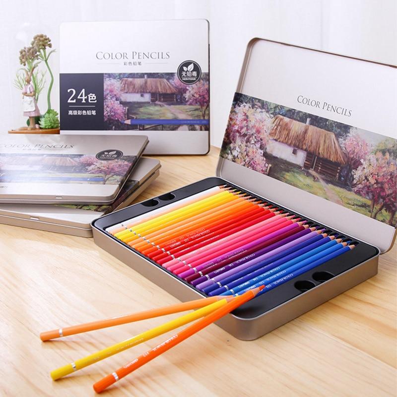 Цветной карандаш Deli Oil 24/36/48/72 цветов, деревянный железный ящик с граффити, ручка для наполнения, цветная свинцовая живопись, школьные принадлежности для скетча| |   | АлиЭкспресс