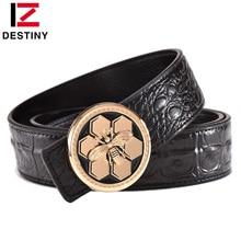 DESTINY Luxury Men Belt Famous Brand Designer Belts Male Genuine Leather Strap Waist Fashion Crocodile Bee Gold Silver Wedding