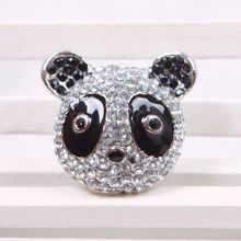 Fashion Hot Sale Lovely Cute Crystal Rhinestone Mounted White Black Panda Ring #53834