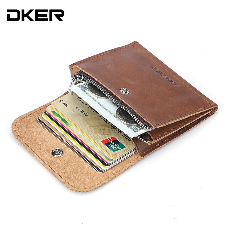 DKER Vintage Men's Coin Purse Genuine Leather Zipper Coin ...