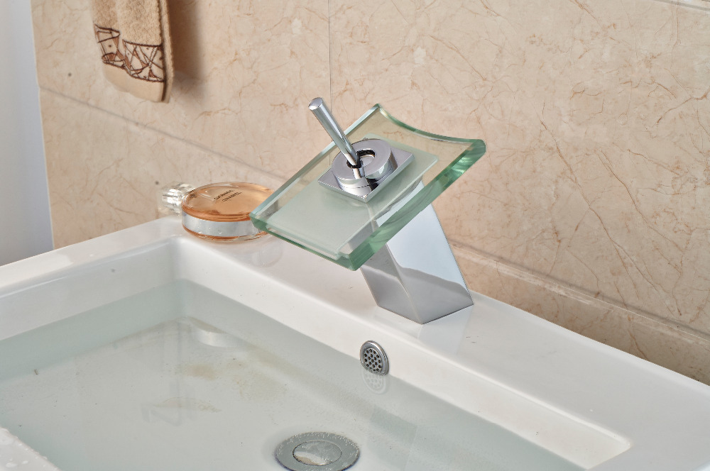 LED Glass Square Bathroom Faucet Chrome Finish Vanity Sink Mixer Tap Deck Mounted