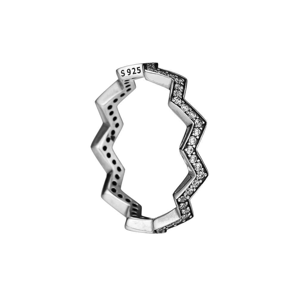 100% 925 เงินสเตอร์ลิง Zigzag แหวนแฟชั่นเครื่องประดับแหวนหมั้นสำหรับผู้หญิง DIY Charms เครื่องประดับของขวัญ Party