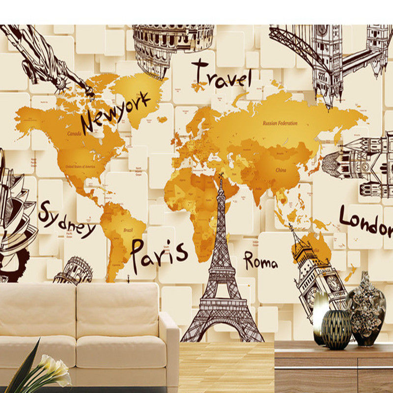 Creative 3d building the world map picture tv background wall creative 3d building the world map picture tv background wall decoration painting bedroom tv background wall mosaic wallpaper in wallpapers from home gumiabroncs Image collections
