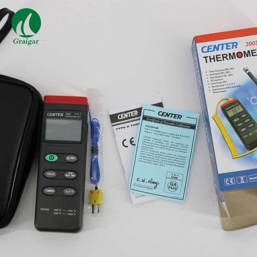 Center Digital Thermometer CENTER 300 Temperature Recorder  Display  3 1/2 Digit LCD Level Measuring Instruments     - title=