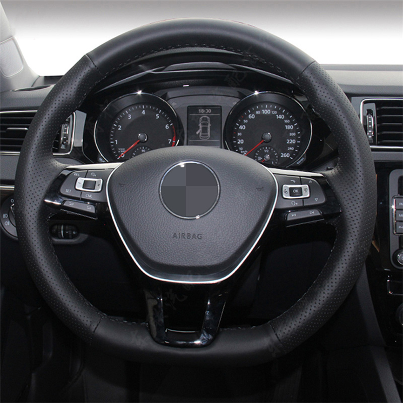 Hand-stitched Black Leather Steering Wheel Cover for Volkswagen VW Golf 7 Mk7 New Polo Jetta Passat B8 shining wheat black suede red leather steering wheel cover for volkswagen vw passat b8 golf 7 mk7 new polo jetta