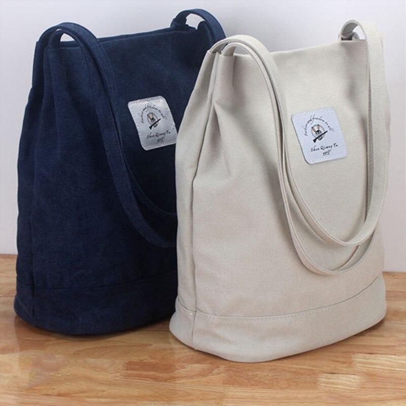 54f3cd382 2019 marca bolso de hombro Casual mujer Vintage algodón lona cubo bolsa  Simple grande Shopper bolsas playa Totes