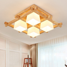 hot deal buy trazos modern led ceiling lights wooden square ceiling lamp with dimming remote for living room dining light wood bedroom lamps