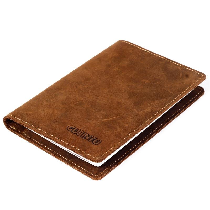 GUBINTU Vintage Men Genuine Leather Travel Passport Cover Credit Card Holder Wallet Organizer For Document Purse For Man