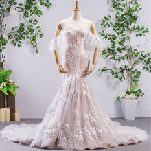 HIRE LNYER Short Sleeve Mermaid Wedding Dresses