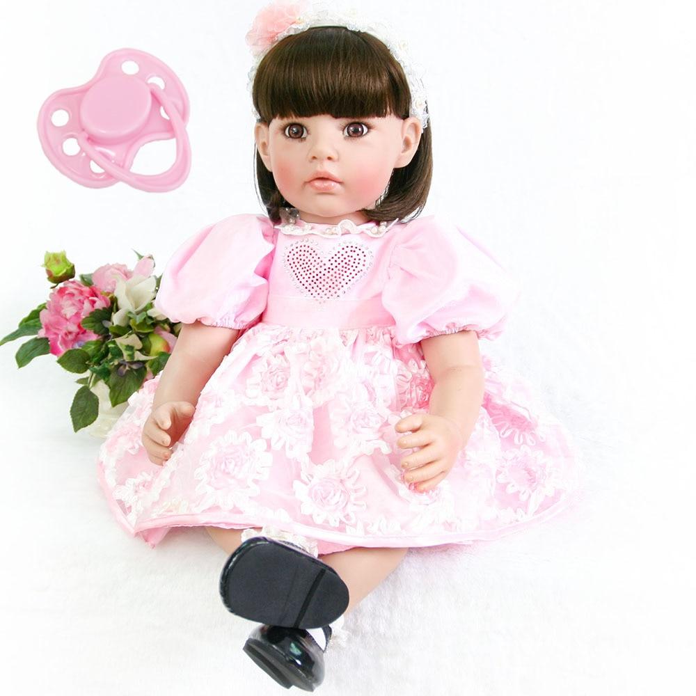 60cm Silicone Reborn Baby Doll Toys Lifelike Vinyl Pink Princess Toddler Babies Dolls Cute Child Birthday Gift Alive Bebe Girl цены
