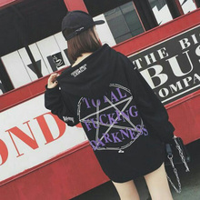 Harajuku Women Autumn Hoodie Oversize Loose Casual Gothic Letter Print Hooded BF Style Thick Winter Black Fashion Hoodies Hot