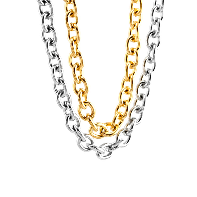 100% Stainless Steel Chain For Jewelry Making 6mm Metal Rolo Link Chain By Meter Cadena Por Metros No Clasp