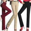 Women's high waist casual pants elastic female straight 100% cotton pants trousers plus size