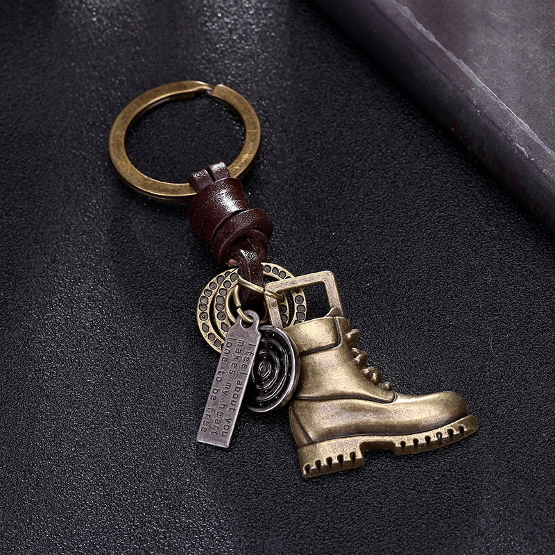 Brass Shoe Pendant For Car Keys Leather Keychain Chain Ring Cover Holder Finder Trinket Accessories For Handbag Purse Charms