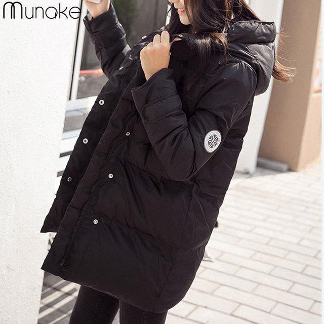 Женская мода Вниз куртка Хлопка С Капюшоном Пальто куртки Женщин с Длинным Негабаритных И Пиджаки Стандартный Пальто Карманы украина зимняя куртка