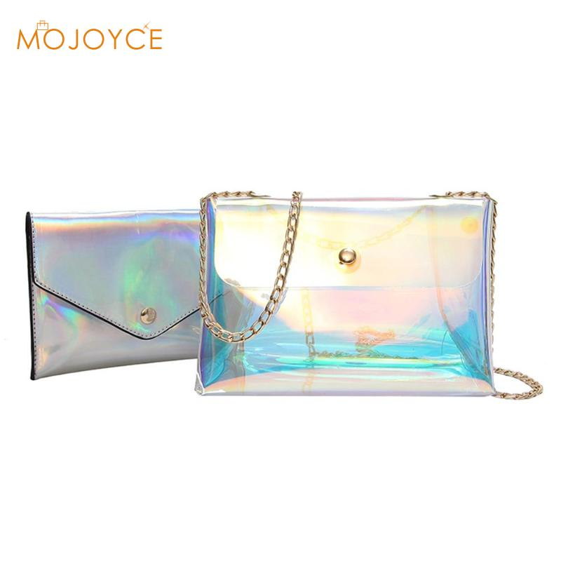 2pcs/set Laser Clear Crossbody Bag Women Transparent Laser Chain Shoulder Messenger Bag for Girl Handbag Party fashion 2018 New цена