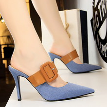Women's Slippers High-heeled shallow mouth pointed denim color matching word belt buckle casual woman shoes free shipping stylish and elegant high heeled shoes of fine silk surface shallow mouth pointed diamond pearl word strap sandals