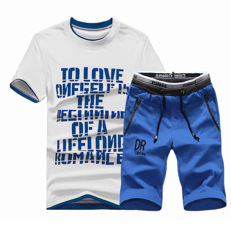 M-4XL футболка Фитнес Письмо печати t-рубашка Для мужчин лето Двойка Модный комплект Повседневное человека Slim Fit с коротким рукавом 3D футболка Для мужчин