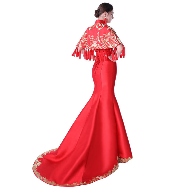 Vestido Oriental rouge chinois traditionnel