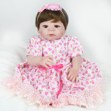 New 55cm full silicone reborn baby doll toys play house pink dress princess reborn babies kids child brithday girls brinque