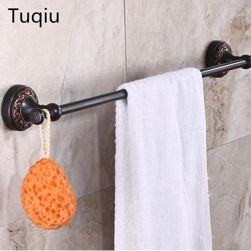 Wall Mounted 24 inch towel rail Black Oil Brushed single Towel Bar Art Carved Style Bathroom Towel Hanger bathroom towel holder luxury artistic towel bar single towel holder wall mounted bathroom towel rail rod oil rubbed bronze finish