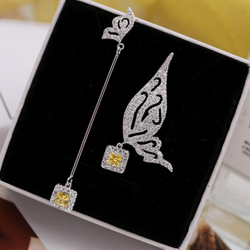 Temperament zircon butterfly earrings pure silver needle sweet asymmetrical personality exquisite earrings long female
